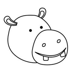 Hippopotamus cartoon head in monochrome silhouette vector