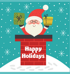 holiday card with santa claus inside chimney vector image
