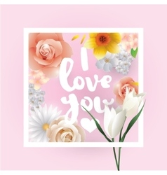 I love You inscription greeting card vector image