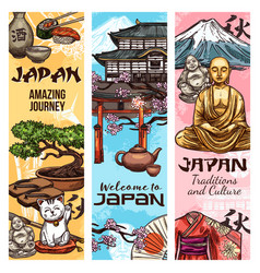 japan culture tradition symbols vector image