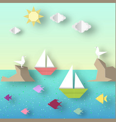 Landscape with ship sails past reef with a vector
