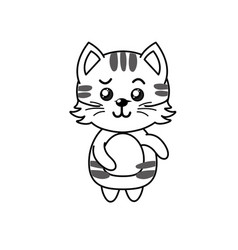 Line cute cat wild animal with face expression vector