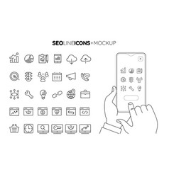 Line seo icon set with line hands holding vector