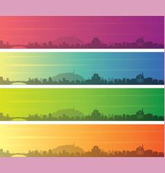 Ljubljana multiple color gradient skyline banner vector