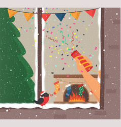merry christmas and new years home interior vector image