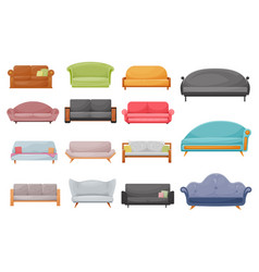 modern sofa classic or retro couch cartoon vector image