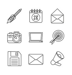 Monochrome background with marketing icons vector