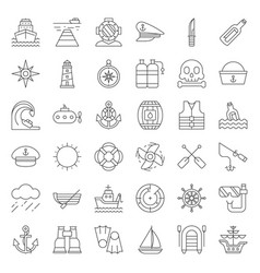 nautical and sailor outline icon set vector image