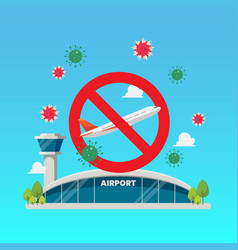 No airplane sign with airport building vector