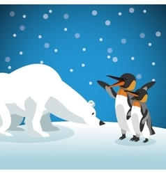 Polar habitat related icons image vector