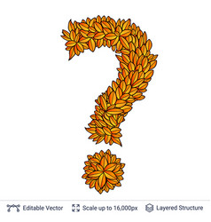 Question sign of autumn leaves vector