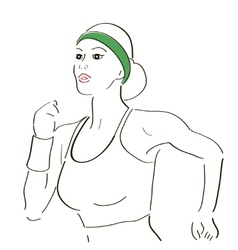 Running woman sketch vector