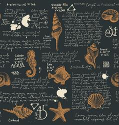seamless pattern with seashells and lorem ipsum vector image