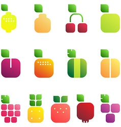 Set of fruits and berries with leaves Shiny style vector image