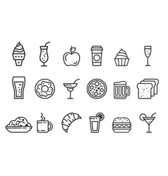 set of linear food and drink icons tasty vector image