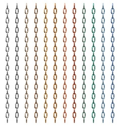 Set of multi-colored metal chain vector