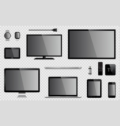 set of realistic tv computer monitor laptops vector image