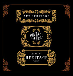Set ornament carving art nouveau style emblem vector