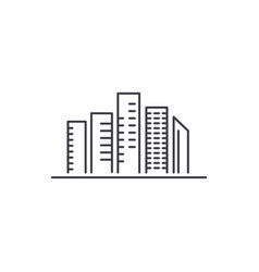 skyscrapers line icon sign vector image
