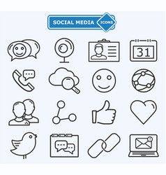 Social media and network lines icons vector