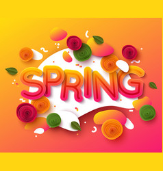 spring background with paper cut flowers and vector image