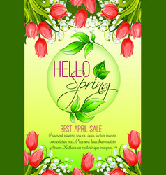 spring holiday sale tulip flowers poster vector image