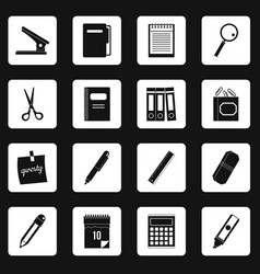 Stationery symbols icons set squares vector