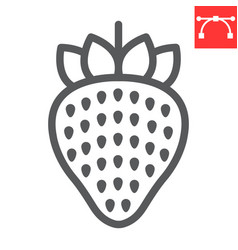 strawberry line icon food and keto diet berry vector image
