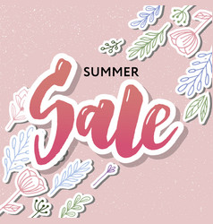 Summer sale card template hand drawn lettering vector