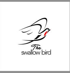 Swallow logo flying line art hand drawn bird anima vector