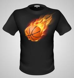 t shirts Black Fire Print man 23 vector image vector image