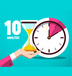 Ten 10 minutes counter clock and hourglass flat vector