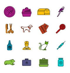 veterinary icons doodle set vector image