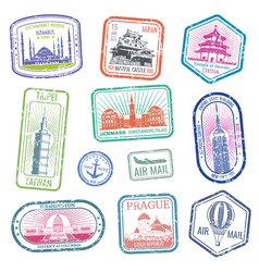 Vintage travel stamps with major monuments and vector