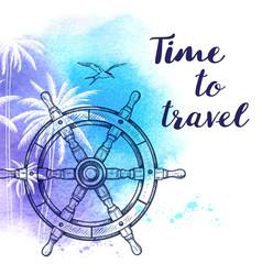Watercolor travel background vector