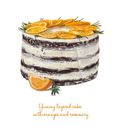 yummy layered cake with oranges and rosemary vector image