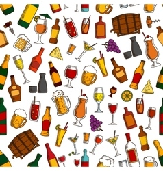 Aperitif drinks and cocktails seamless pattern vector image vector image