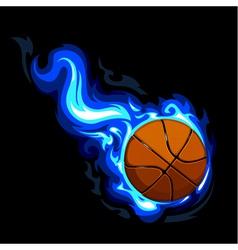 Burning basketball vector image vector image