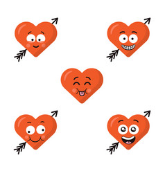 set of flat cute emoji heart faces with arrow vector image vector image