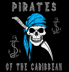 skull pirates graphic design vector image
