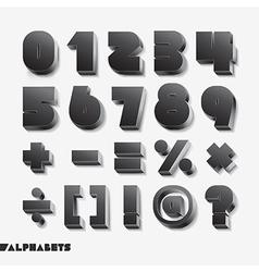 3D alphabet number black color vector image vector image