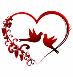 heart and dove vector image vector image