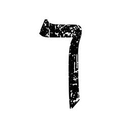 Hebrew letter Kaf Shabby black font The Hebrew vector image