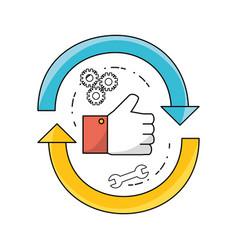Technology data process to teamwork development vector