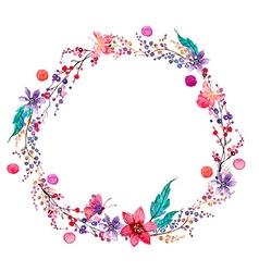Watercolor flower wreath background vector