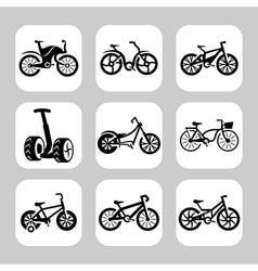 Bicycles icon set vector