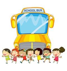 Children and school bus vector image vector image
