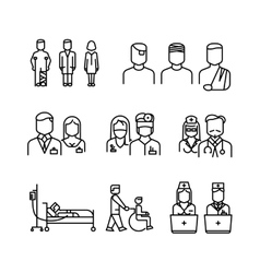 Doctor patient nurse thin line icons set vector image