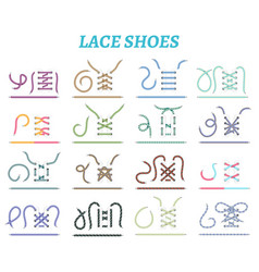shoe lacing methods icons set vector image