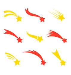 falling star flat style set vector image vector image